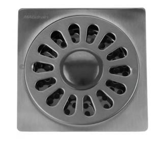 Трап для душа MAGdrain PC04Q50-B (100x100x3мм, хром матовый,  нержавеющая сталь, ввод для стириальной машины)